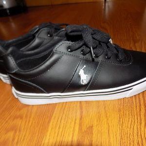 NWOT Ralph Lauren Polo Black Leather Sneakers